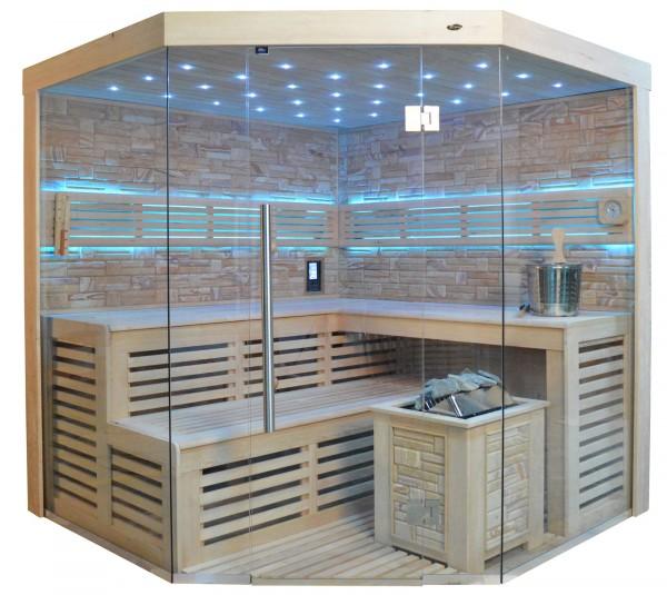Sauna TS 4023A Bio-Kombiofen, Farbsandgestein, 180x180cm