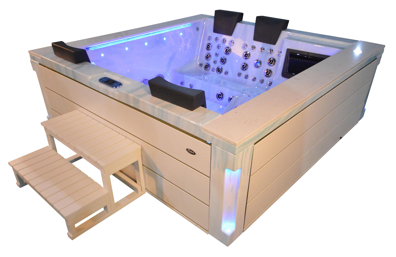 Whirlpool outdoor aussenwhirlpool hot tub spa pool fd 241 100 hellblau weiss heico wellness - Pool quadratisch ...