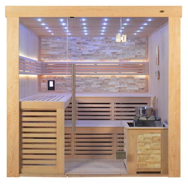 Sauna TS 4021 Bio-Kombiofen, bernsteinfarbener Marmor, 200x180cm
