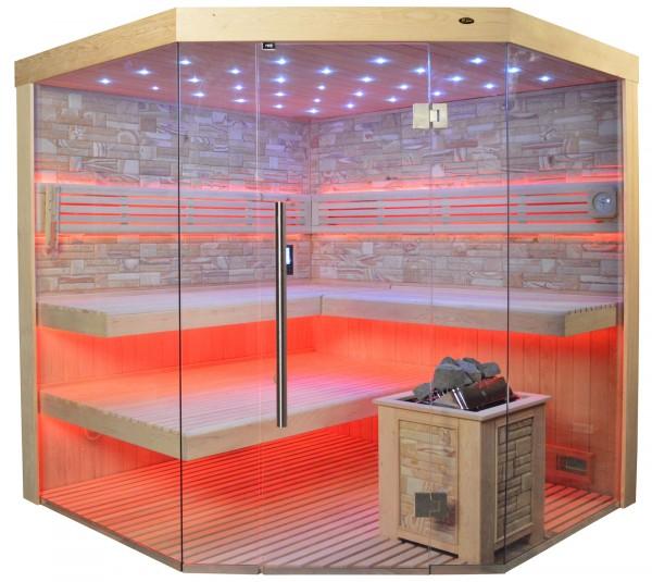 Sauna TS 4064 Bio-Kombiofen, Farbsandgestein, 200x200cm