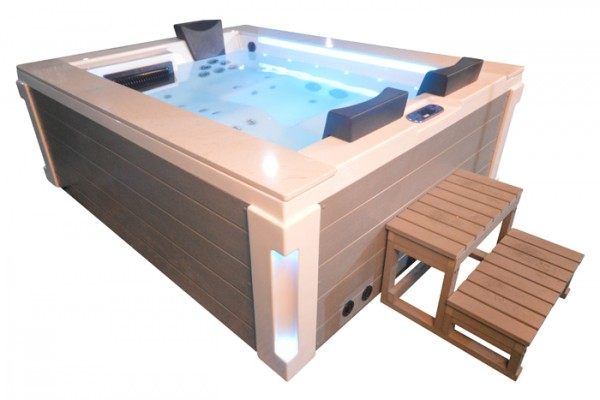 Whirlpool Outdoor Außenwhirlpool Hot Tub Spa Pool HE- 121 weiß-hellgrau