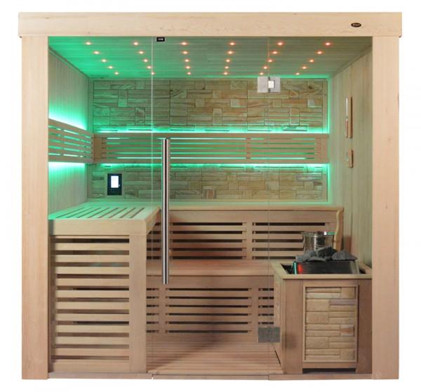 Sauna TS 4021 Bio-Kombiofen, Farbsandgestein, 200x180cm