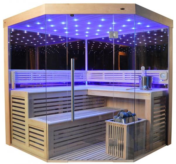 Sauna TS 4013-A LM Eco-Ofen, Spiegelwand 180x180 cm
