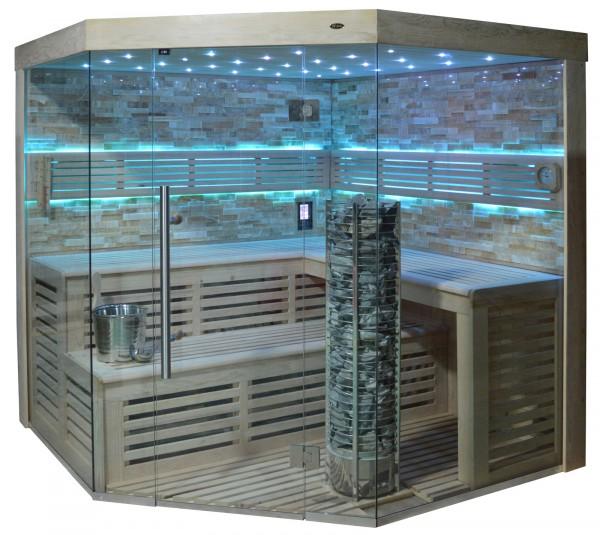 Sauna TS 4023A Steintowerofen, bersteinfarbener Marmor, 180x180cm