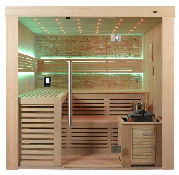 Sauna TS 4022 Bio-Kombiofen, Farbsandgestein, 220x180cm