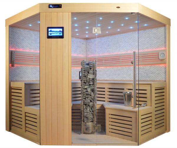 Videosauna VS 4025 Steintowerofen, weisser Marmor, 220x220cm