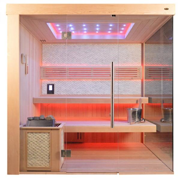 Sauna TS 4056 Bio-Kombiofen, weisser Marmor, 200x180cm