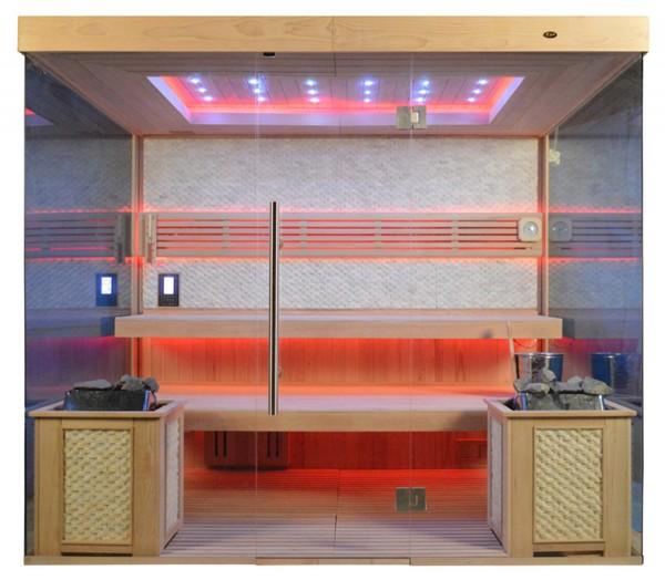 Ausstellungsstück Sauna TS 4071 Bio-Kombiofen, weißer Marmor, 250x180cm