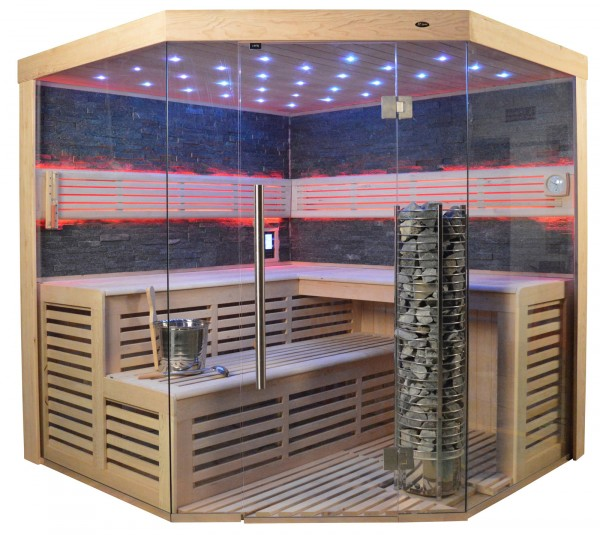 Sauna TS 4024 Steintowerofen, schwarzer Marmor, 200x200cm