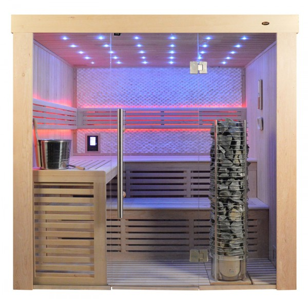 Sauna TS 4021 Steintowerofen, weisser Marmor, 200x180cm