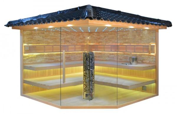 Gartensauna GS4035 Steintowerofen, mit Bernstein-farbenem Marmor, 300x300cm