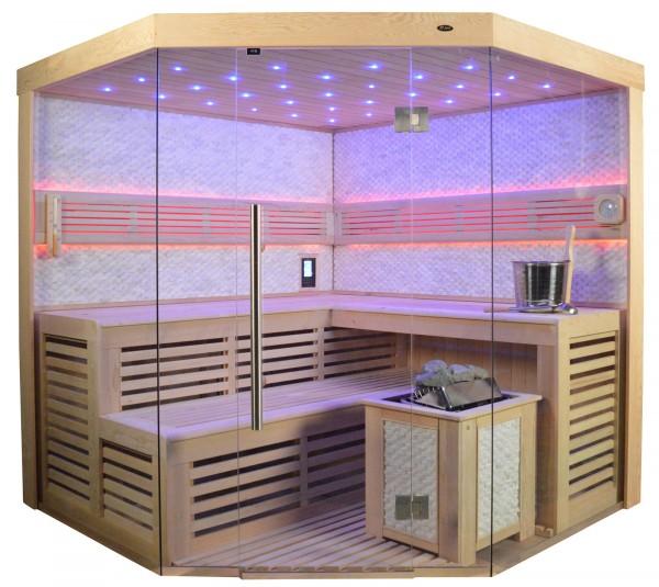 Sauna TS 4024 Bio-Kombiofen, weisser Marmor, 200x200cm
