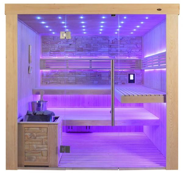 Sauna TS 4062 Bio-Kombiofen, Farbsandgestein, 200x180cm