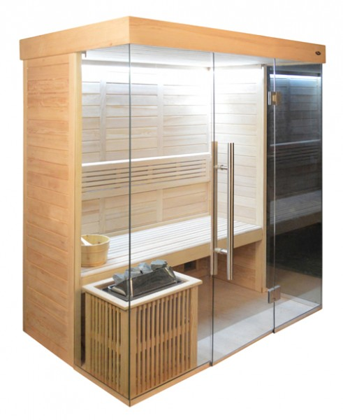 Sauna HE 4018-3 Eco-Ofen, 180x120cm B/T