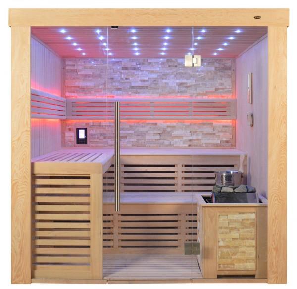 Sauna TS 4022 Bio-Kombiofen, bernsteinfarbener Marmor, 220x180cm