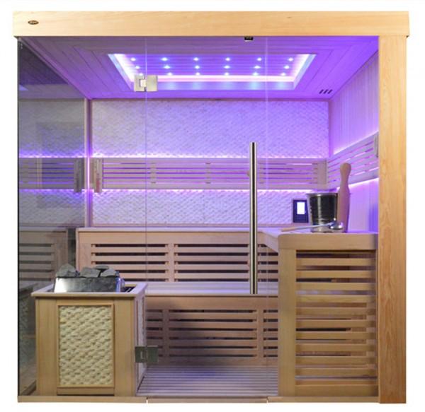 Sauna TS 4061 Bio-Kombiofen, weißer Marmor, 200x180cm