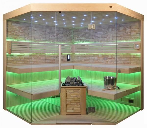 Sauna TS 4065 Bio-Kombiofen, Farbsandgestein, 220x220cm