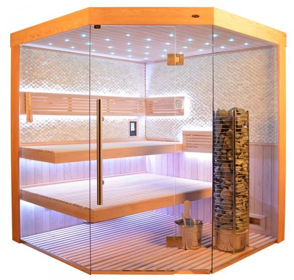 Sauna TS 4063 Steintowerofen, weißer Marmor, 180x180cm