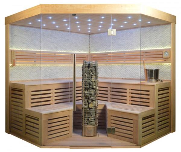 Sauna TS 4025 Steintowerofen, weisser Marmor, 220x220cm