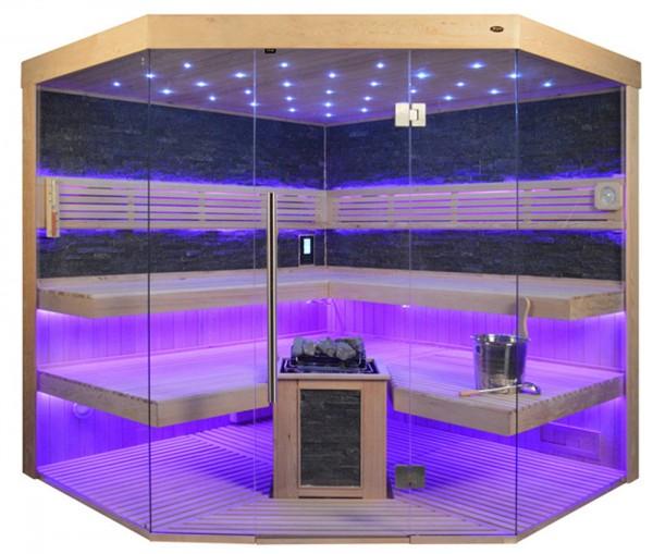 Sauna TS 4065 Bio-Kombiofen, schwarzer Marmor, 220x220cm
