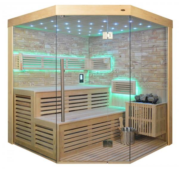Sauna TS 4023 Bio-Kombiofen, Farbsandgestein, 180x180cm