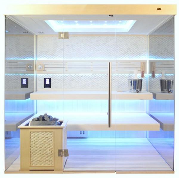Sauna TS 4057 Bio-Kombiofen, weißer Marmor, weiße Pappel, 200x180cm
