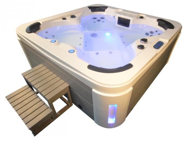 Whirlpool Outdoor Außenwhirlpool Hot Tub Spa Pool HE- 4 weiß-hellgrau