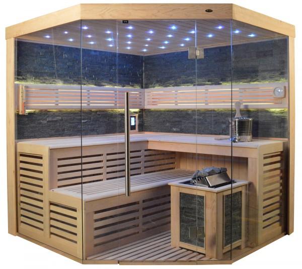 Sauna TS 4024 Bio-Kombiofen, schwarzer Marmor, 200x200cm