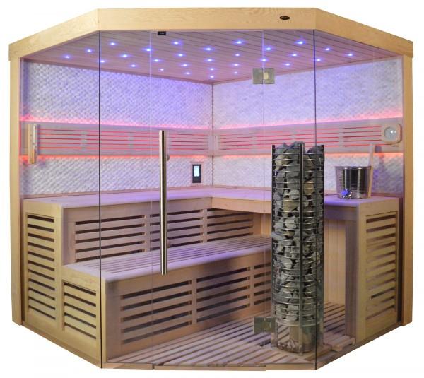 Sauna TS 4024 Steintowerofen, weißer Marmor, 200x200cm